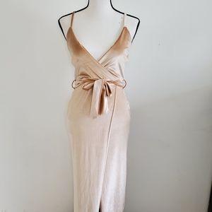 BOOHOO velvet high slit wrap tie maxi dress